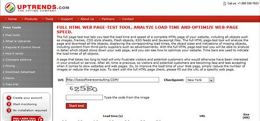 Uptrends-Full HTML load time Web page test tool.