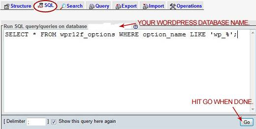 Executing a SQL command in phpMyAdmin Web interface to find records starting with 'wp_' in the 'wpr12f_options' table.