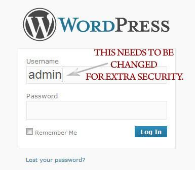Default Username as shown in the WordPress login screen.
