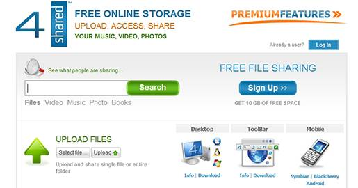 4shared - File sharing and Online Storage. Provides 10GB of Free storage. Downside: Your Free account and Your files will be deleted if you do not login for 30 days.