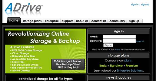 ADrive - 50GB Free Online Storage, Online Backup and Cloud Storage. Downside:  No data Encryption for Free accounts.