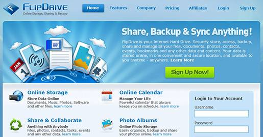 FlipDrive is your Internet Hard Drive. Securely store, access, backup, share and manage all your files, documents, photos, contacts, events, bookmarks and any other data and content. Your data is stored online, in a secure location, and available to you anytime, anywhere. Provides ONLY 1GB of Free storage.