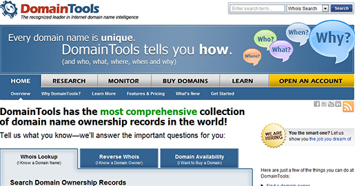 DomainTools - Domain name research, including comprehensive Whois Lookup, reverse Whois lookup and Whois History. Domain name monitoring tools and buyer/seller tools.