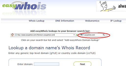 easyWhois - Lookup domain name whois records and DNS information for any top level domain name or IP address block.