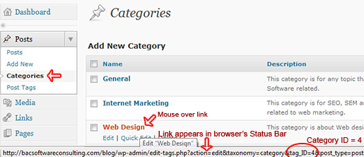 How to find the category ID in WordPress dashboard.