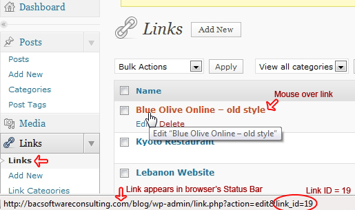 How to find the Link ID in your WordPress dashboard.