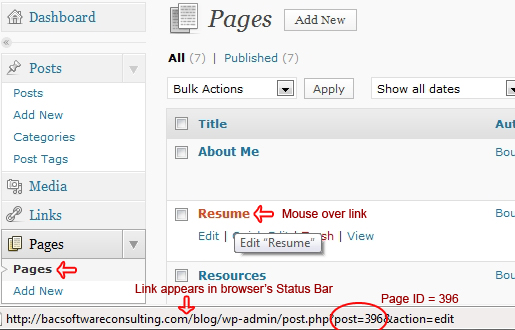 How to find the Page ID in your WordPress dashboard.