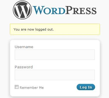 Default WordPress Login screen.