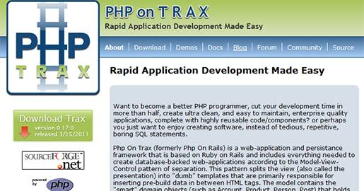 PHPonTRAX is a model view controller PHP framework built in PHP and PEAR (PHP Extension and Application Repository).