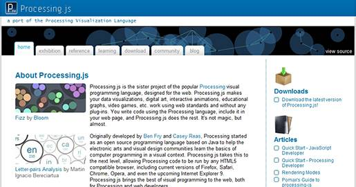 Processing.js is a JavaScript port of Processing, a programming language designed to write visualizations, images, and interactive content. It allows Web browsers to display animations, visual applications, games and other graphical rich content without the need for a Java Applet or Flash plugin.