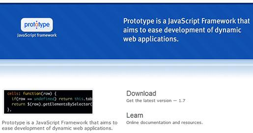 Prototype JavaScript framework. Ajax and DOM manipulation for dynamic Web applications.