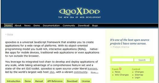 qooxdoo is a universal JavaScript framework that enables you to create applications for a wide range of platforms. With its object-oriented programming model you build Rich Interactive Applications, native-like apps for mobile devices, traditional Web applications or even applications to run outside the browser.