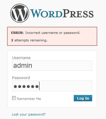 WordPress Login Screen when the Limit Login Attemps Plugin is active.