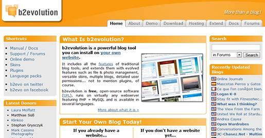 b2evolution is a powerful blog tool you install on your own server. It includes all the features of traditional blog tools, and extends them with features such as file & photo management, versatile skins, multiple blogs, detailed user permissions, and plugins. b2evolution is free, runs on any Web server featuring PHP + MySQL.