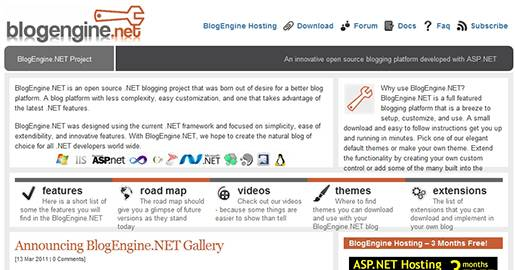 BlogEngine.NET is an open source .NET blogging project that was born out of desire for a better blog platform, with less complexity and easy customization. BlogEngine.NET was designed using the current .NET framework and focused on simplicity, ease of extendibility, and innovative features.