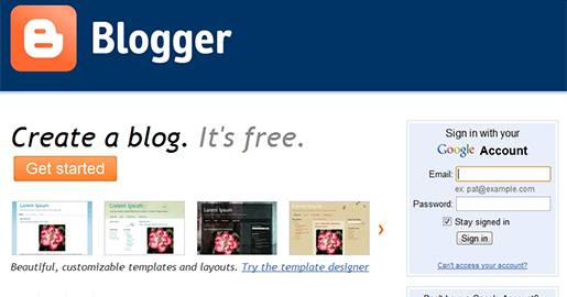 Free Weblog publishing tool from Google, for sharing text, photos and video.  You need to sign in to Blogger with your Google Account. The blogs are hosted by Google at a subdomain of blogspot.com