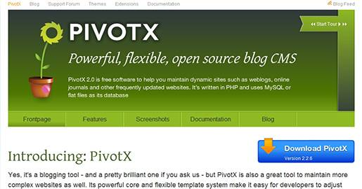 The next generation Pivot, a customizable Weblog tool written in PHP and using flat files or a SQL database as data storage. PivotX is also a great tool to maintain more complex Websites as well. Its powerful core and flexible template system make it easy for developers to adjust and extend. PivotX boasts an extensive feature list and its continued development and an active support community ensure that development is always headed in the direction users want it to go.
