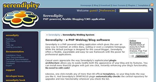 Serendipity is an open-source project for creating a simple CMS for blog authors. It is a PHP based blog and a Web based content management system. It supports PostgreSQL, MySQL, and SQLite database backends, the Smarty template engine, and a plugin architecture for user contributed modifications.