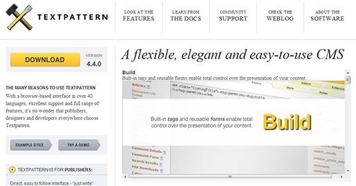 Textpattern is a flexible, elegant and easy-to-use CMS. Textpattern is an open source content management system; it allows you to easily create, edit and publish content and make it beautiful in a professional, standards-compliant manner.