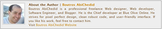 Sample of Author´s Bio box as it appears on this blog.