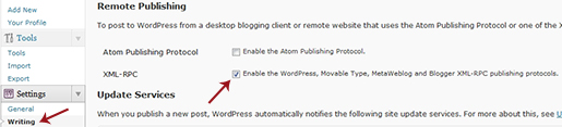 WordPress Remote Publishing Setting for XML-PRC specification.