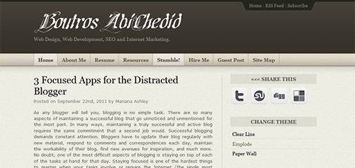 Boutros AbiChedid Blog shown using Emplode theme.