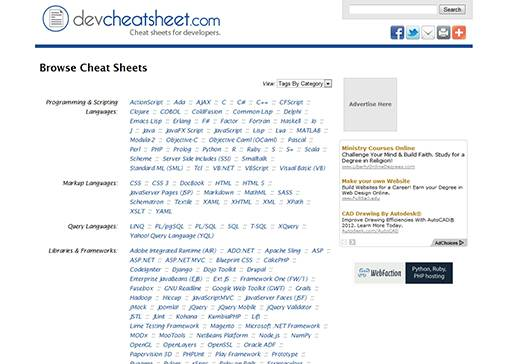 DevCheatSheet.com - Cheat Sheets & Quick Reference cards for developers.