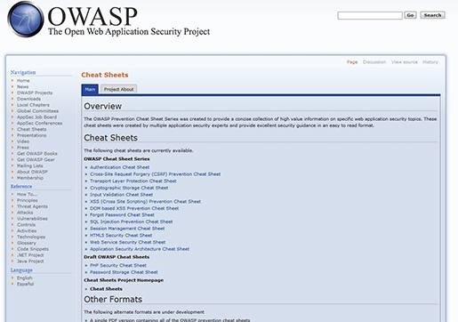 OWASP security cheat sheets.