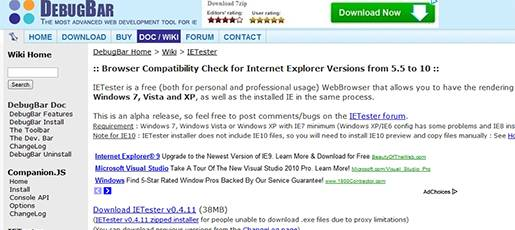My DebugBar IETester - Browser compatibility check tool for Internet Explorer versions from 5.5 to 10.
