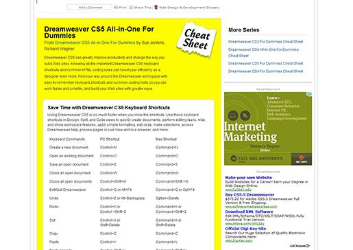 Dreamweaver CS5 cheat sheet.