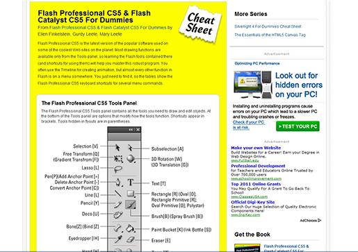 Flash Professional CS5 & Flash Catalyst CS5 cheat sheet.