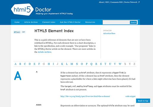 Element Index - HTML5 Doctor.
