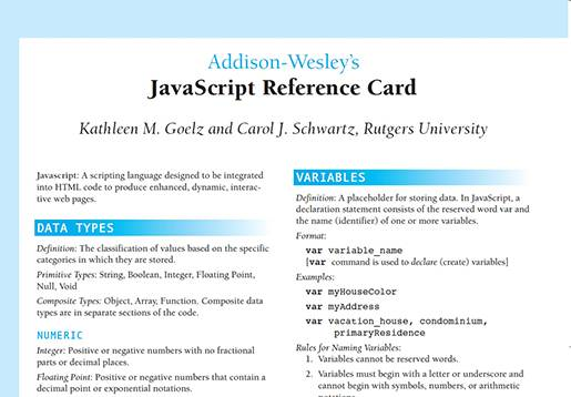 JavaScript Reference Card.