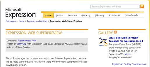 Microsoft Expression Web SuperPreview - Cross Browser Testing.
