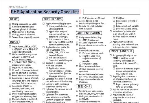 PHP Application Security Checklist.