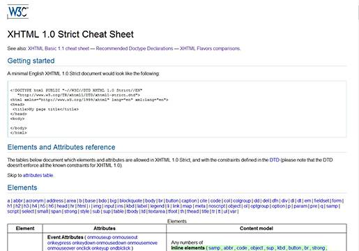 W3C XHTML 1.0 Strict Cheat Sheet.