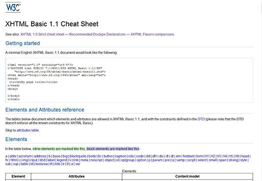 W3C XHTML Basic 1.1 Cheat Sheet.