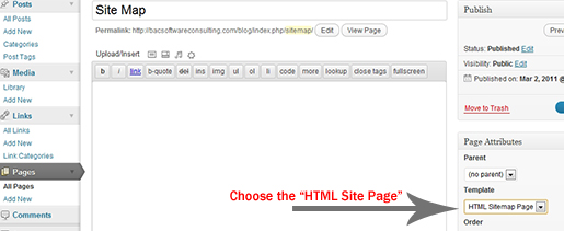 Create the new HTML Sitemap Page in WordPress dashboard.