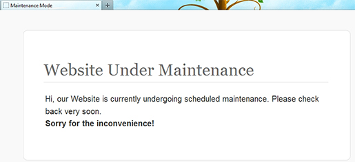 Example of the WordPress maintenance page.