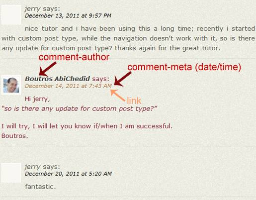 Image8: Linear Commenting Format - More Styling Options for the post's Author´s Comments where the Comment metadata (date and time) is displayed as a link.