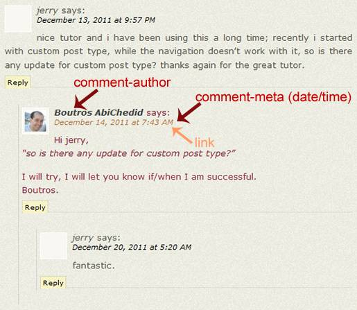 Image7: Threaded (Nested) Commenting Format - More Styling Options for the post's Author´s Comments where the Comment metadata (date and time) is displayed as a link.
