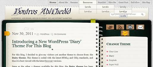 Diary theme: Example of the PAGE dropdown navigation menu - 3 level deep.