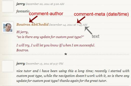 Image6: Linear Commenting Format - More Styling Options for the post's Author´s Comments where the Comment metadata (date and time) is displayed as a text only.