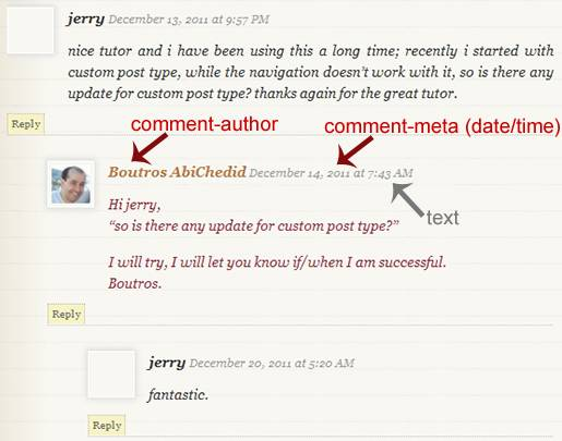 Image5: Threaded (Nested) Commenting Format - More Styling Options for the post's Author´s Comments where the Comment metadata (date and time) is displayed as a text only.