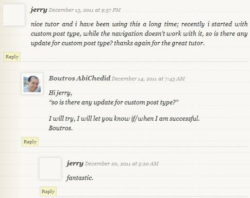 Image1: Threaded (Nested) Commenting Format - No separate styling for the post's author comment.