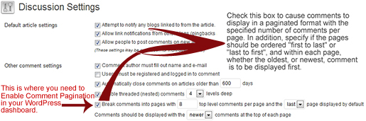 Setting the Comments Pagination in WordPress dashboard.
