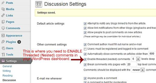 Setting the Threaded (Nested) comments in WordPress dashboard.