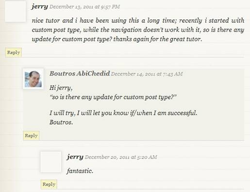 Image3: Threaded (Nested) Commenting Format - Simple Background highlighting for the post's author comment.