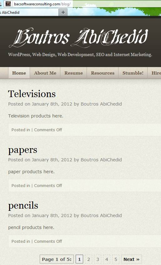 Pagination for the Custom Post Type named 'Products' - Page1.