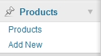 Created a new Panel in WordPress dashboard called 'Products'.